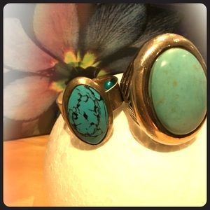 Silver and turquoise rings.